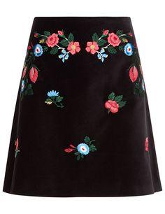 VIVETTA Black Embroidered Mini Agave Skirt. #vivetta #cloth #skirt