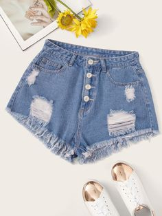 Check out this Ripped Detail Raw Hem Denim Shorts on Shein and explore more to meet your fashion needs! Distressed Denim Shorts, Ripped Denim, Ripped Shorts, Jean Shorts, Womens Fashion Online, Latest Fashion For Women, Shorts Sale, Type Of Pants, Jeans Rock