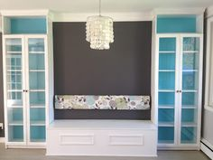 DIY Banquette Storage Bench with BILLY bookcase storage from Ikea.