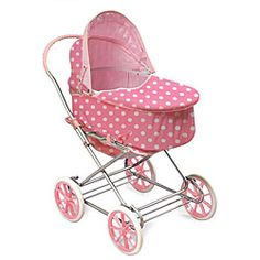 Badger Basket Co. Pink/ White Polka Dot Doll Pram/ Carrier