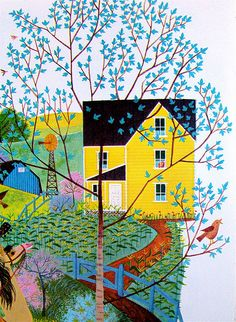Farmhouse and tree  From Songs We Sing (A Big Golden Book), illustrated by William Dugan, 1957.