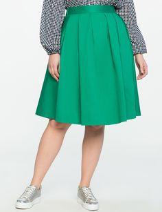 Eloquii Pleated Midi Skirt with Pockets Bright Emerald