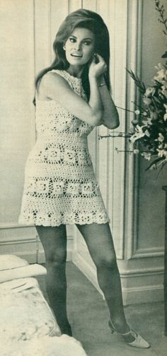 Crochet flashback! Raquel Welch gorgeous in a crochet minidress for her 1967 wedding (yes, this was her wedding dress!)