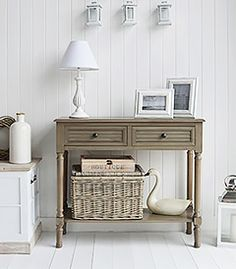The White Lighthouse Newport French Grey console Hall table for cottage living room and Hallway furniture. How to decorate your home in Country Cottage interior decor. Silver Console Table, Large Console Table, Hall Furniture, White Bedroom Furniture, Furniture Storage, Small Hall Table, Country Cottage Interiors, Hallway Console, Room Interior