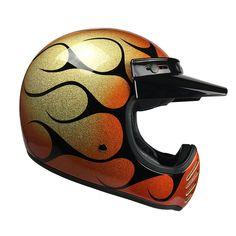 Retro motorcycle helmet at Bell Moto 3, Retro Motorcycle Helmets, Bell Helmet, Football Helmets, Candy, Orange, Metal, Black, Hard Hats