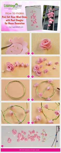 How to Make Pink Felt Rose Wind Chime with Pearl Dangles for House Decoration Easy Felt Crafts, Bee Crafts, Felt Diy, Diy Arts And Crafts, Paper Flower Tutorial, Paper Flowers Diy, Flower Crafts, Fabric Flowers, Bow Tutorial