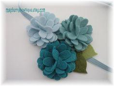 Baby Headband Felt Flower Headband Wool Felt Flower Abigail-Ice Blue, Swan, Teal -U PICK Headband, or Hair Clip, or Brooch