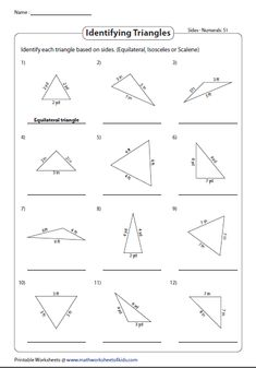 Classifying triangles worksheets provide practice to recognize triangles based on sides and angles as isosceles, scalene, equilateral, acute, right and obtuse. Triangle Angles, Isosceles Triangle, Right Triangle, Classification Of Triangles, Classifying Triangles, Angles Worksheet, Triangle Worksheet, Perimeter Of Triangle