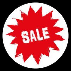 Sale / Uitverkoop stickers rond 30 cm.