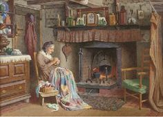 """""""The Quiltmaker"""", 1931, by Henry Edward Spernon Tozer (English, 1864-1938)"""