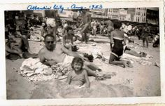 Antique Vintage Photograph Crowded Beach Girl Buried in Sand Atlantic City NJ