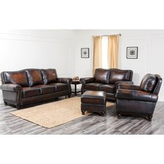 Abbyson Living Barclay 4 Piece Hand Rubbed Leather Sofa Set - Brown - CI-N180-BRN-3/2/1/4