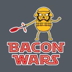 Awesome 'Bacon+wars' design on TeePublic! Jake el perro se toma muy en serio su gusto por un tocino bien cosinado. Ilustración vectorial parodeando a Kylo Ren de Star Wars Episodio VII. Prints and T-shirts available in Society6, Redbubble Tee public and Design by Humans. #vector #vectorart #JakeTheDog #AdventureTime #StarWars #Bacon #illustrator