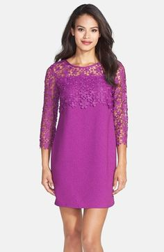 Darling 'Milena' Lace Overlay Textured Shift Dress available at #Nordstrom