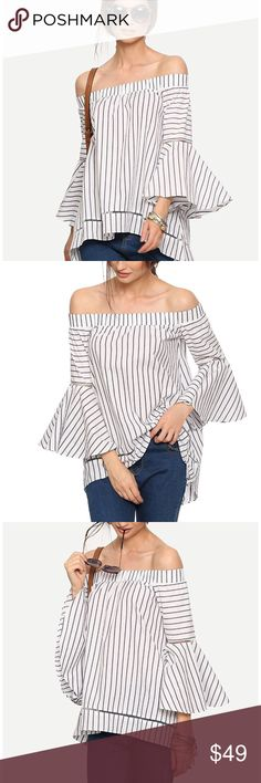 Women Off The Shoulder Bell Sleeve Striped Blouse Women's Off The Shoulder Bell Sleeve Striped Blouse | Bust XS:90cm | 35.4"