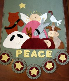 """Hand Stitched """"Let Heaven and Nature Sing"""" x Wool-Felt Christmas Table Runner-Penny Rug. Rug Inspiration, Penny Rugs, Felt Applique, Mug Rugs, Felt Christmas, Hand Stitching, Table Runners, Wool Felt, Pot Holders"""