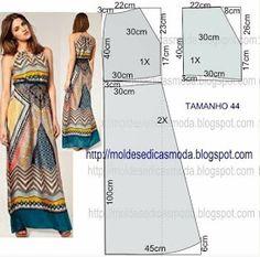 summer maxi dress pattern to draft Fashion Sewing, Diy Fashion, Ideias Fashion, Dress Tutorials, Sewing Tutorials, Diy Clothing, Sewing Clothes, Dress Sewing Patterns, Clothing Patterns