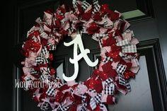 Alabama Rag Wreath with Metal Script A Logo by WaywardNest on Etsy Football Wreath, Alabama Football, Football Team, Football Stuff, Alabama Wreaths, Diy And Crafts, Arts And Crafts, Door Wreaths, Ribbon Wreaths