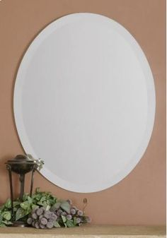 Red Barrel Studio Frameless Vanity Traditional Beveled Wall Mirror Size: H x W Silver Wall Mirror, Wall Mirrors Set, Round Wall Mirror, Wall Mounted Mirror, Traditional Wall Mirrors, Contemporary Wall Mirrors, Large Oval Mirror, Uttermost Mirrors, Frameless Mirror