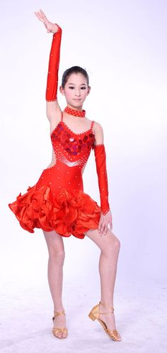 COMPETITION ICE DANCE FIGURE SKATING DRESS Salsa Tango Red w Crystals Adult M #FlyingCamelDesigns