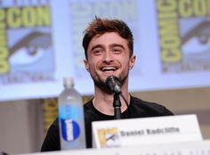 Daniel Radcliffe attends the San Diego Comic-Con (pop culture convention) to promote his upcoming horror-comedy film 'Horns'. He told the audience he walked the Con floor incognito by dressing as Spider-Man. (July 2014)