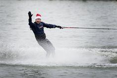 Water skiing in December on Lake Erie, 2015.