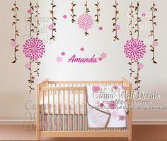 Nursery  wall decals name JJ Cole Sweet Primrose bedding wall sticker nursery wall mural children-  name  floral ball Z191 cuma
