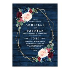 Navy Blue Burgundy Gold Blush Pink Country Wedding Invitation - tap, personalize, buy right now! #Invitation #navy #blue #and #gold #wedding