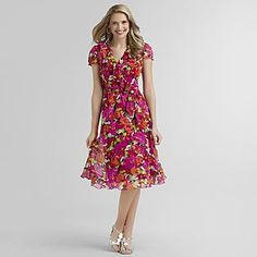 Sears- -Womens Chiffon Dress - Floral