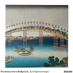 Procession over a Bridge (colour woodblock print)