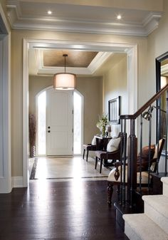 The walls are in Bennington grey and the trim is dune white. Both from benjamin moore.