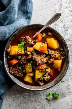 Serve up a hot meal without the fuss for your family tonight: This crock pot beef stew is the perfect easy comfort food. It is simple to prepare in the slow cooker, made entirely from scratch for a healthy dinner! It is the best kind of meal you can sit down to on cold fall and winter nights. It can cook all day, is kid friendly, fits into clean eating goals - what are you waiting for?   #comfortfood #recipes #fall #crockpot #slowcooker #slowcookerrecipes #kidfriendly #fallrecipes #beef