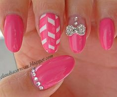 Metallic Bow Nails on pink polish! #nailart #manicure - See more nail looks at bellashoot.com & share your faves!