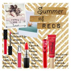 """""""Summer of Reds"""" by eilenepearson ❤ liked on Polyvore featuring beauty, Polaroid, Wildfox, MAC Cosmetics, Gucci, Christian Dior, Lime Crime, vintage, boho and Elegant"""