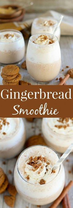 Nadire Atas on Healthy Smoothies Gingerbread Smoothie - A healthy Gingerbread Smoothie loaded with classic gingerbread flavor. A quick and easy breakfast, snack, or dessert for the holiday season. Smoothie Fruit, Smoothie Drinks, Pomegranate Smoothie, Strawberry Smoothie, Easy Smoothie Recipes, Easy Smoothies, Breakfast Smoothies, Healthy Dessert Smoothies, Breakfast Snacks