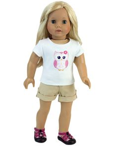"""2 Piece Shorts Set for 18"""" Dolls fits American Doll Clothes"""