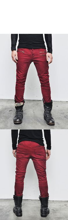 Bottoms :: Jeans :: Black Grunge Wash Zippered Skinny-Jeans 129 - Mens Fashion Clothing For An Attractive Guy Look
