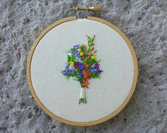 Custom Wedding Bouquet Embroidery Bridal by AndOtherAdventures