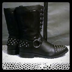 Super Cute Studded Boots Rarely worn, in great condition. No trades. Reasonable offers. Gia Shoes Combat & Moto Boots