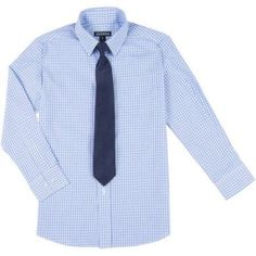 George Boys Long Sleeve Check Dress Shirt and Tie Set, Size: M (8), Clear