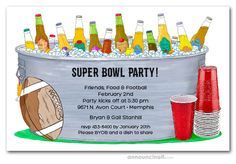 Super Bowl Party Invitation Wording Fresh Red Cups and Bucket Of Bottles Super Bowl Party Invitations Cinderella Invitations, 60th Birthday Party Invitations, Whiskey Label, Invitation Wording, Party Guests, Bottles, Cups, Bucket