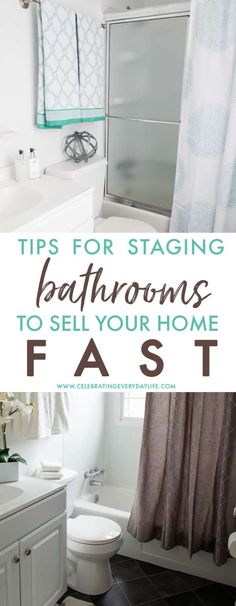 Tips and Ideas to help you stage your bathroom when selling your house. Selling your home? Use these proven tips and ideas to help you make your house stand out and sell fast! Home Staging How Bathroom Staging, Bathroom Organization, Bathroom Remodeling, Bathroom Ideas, Bathroom Designs, Bathroom Storage, Shower Ideas, Sell Your House Fast, Selling Your House