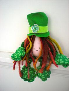 St Patrick's Day Handmade Cloth Doll Yeah I'm Feeling by GoHeyJudy, $20.00