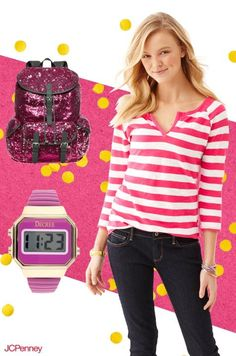 Bold, bright stripes with a pop of pink are a perfect complement to dark wash jeans. Pair this everyday look with a funky sequined backpack and matching watch for a look that will pass with flying colors.