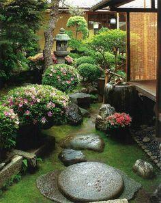 jardin japonais clôture bambou pierre