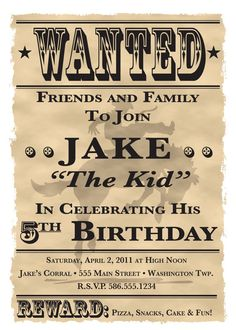 "Wanted Poster Cowboy/Western Theme Birthday Party Invitation - 5"" x 7"" - Digital Printable File"