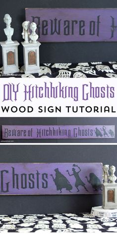 """to Make a Hitchhiking Ghosts Haunted Mansion Sign How to make your own Wood Halloween Sign; A cute """"Beware of Hitchhiking Ghosts""""…How to make your own Wood Halloween Sign; A cute """"Beware of Hitchhiking Ghosts""""… Disney Halloween Decorations, Theme Halloween, Halloween Signs, Holidays Halloween, Halloween Crafts, Halloween Prop, Halloween Witches, Happy Halloween, Disney Holidays"""