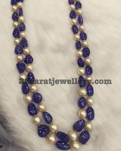Two Layer simple yet trendy beads necklace, 22 carat gold intricate blue sapphire beads and south sea pearls combination feast for the ey...