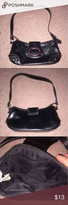 Small Faux Leather Handbag Good condition, perfect for placing places you only need to take a few items. Very cute. Multiple pockets on inside and silver accents on outside. Bags Mini Bags