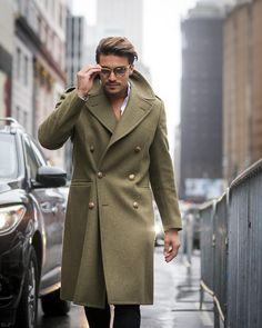 9f37a9901a0 50 Stylish Ways to Wear a Pea Coat for Men. Olive long peacoat